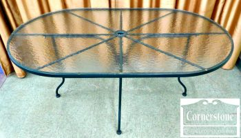 2-1 Oval Green Patio Table