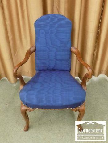 2339-129 - Queen Anne Occasional Blue Arm Chair