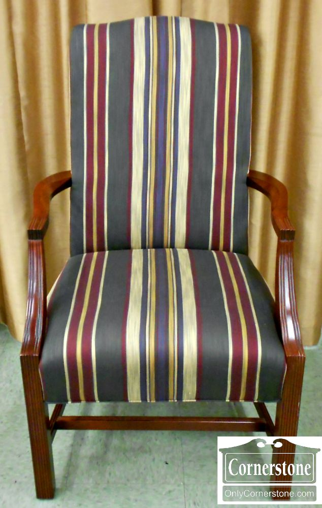 2520-41 Laine Striped Chippendale Occasional Arm Chair