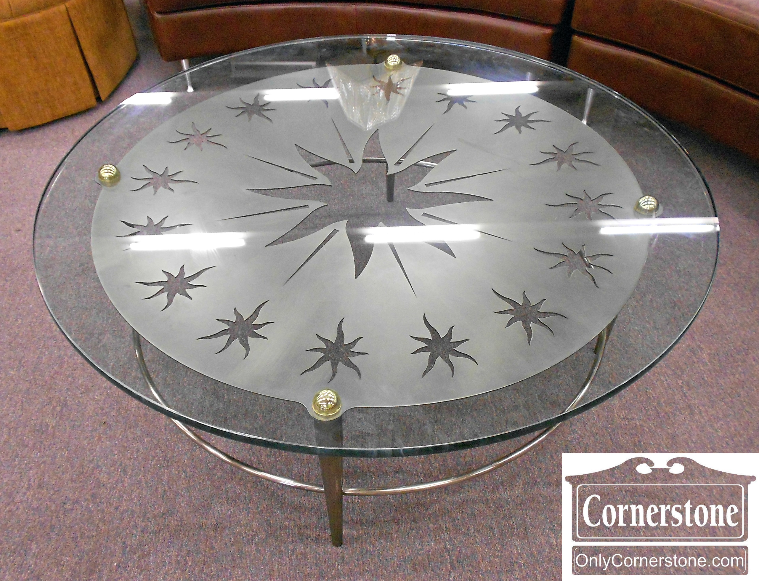 3024-179 Contemporary Round Glass Top Coffee Table