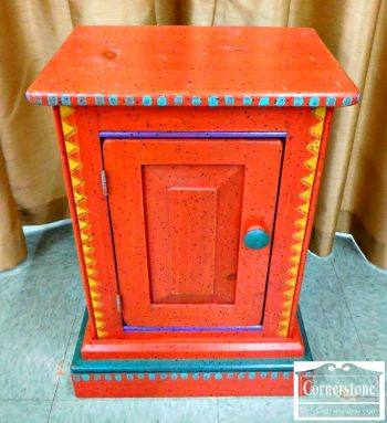 3388-80 Ton Ton Pine Casual Small Painted Cabinet