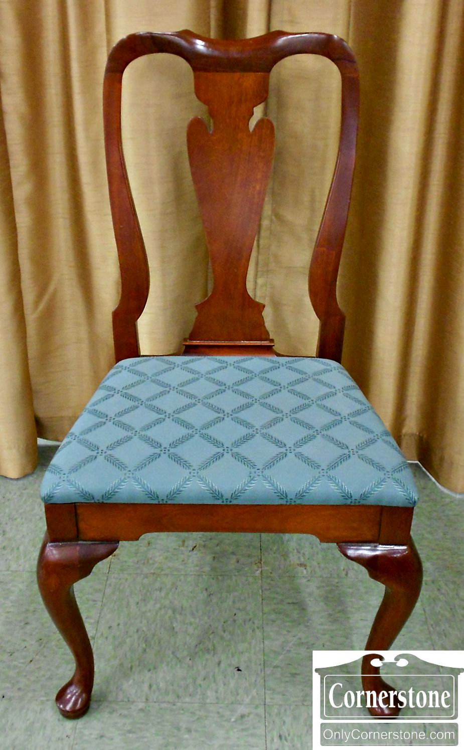 3425-38 Hickory Chair Solid Mahogany Queen Anne Side Chair