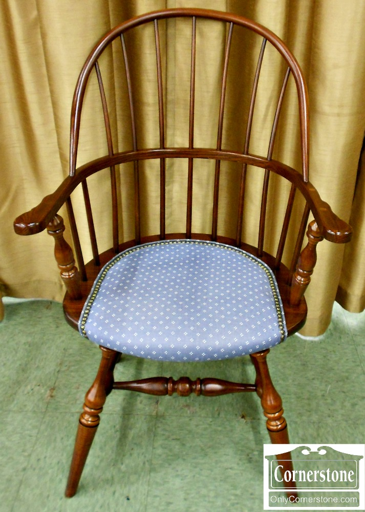 3904-34 Duckloe Oak Windsor Arm Chair with Upholstered Seat