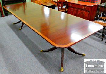 3959-1025 Maitland Smith Banded Mahogany Pedestal Dining Table