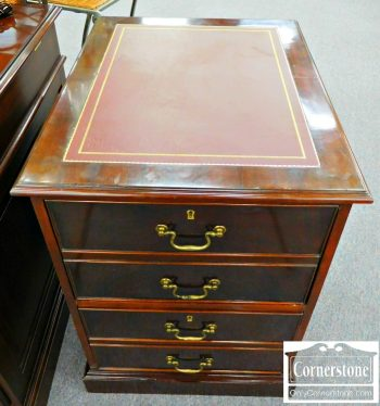 3959-1040 Mahogany Leather Top File Cabinet