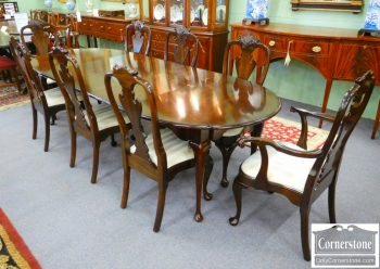 3959-1047 Set of 8 Stickley Solid Mahogany Queen Anne Dining Chairs