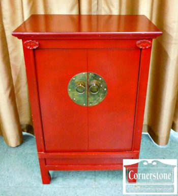3959-1083 Red Chinese Cabinet with Pull Down Front-1