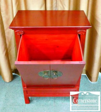 3959-1083 Red Chinese Cabinet with Pull Down Front-2