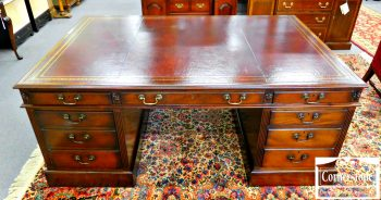 3959-1089 Large Mahogany Leather Top Partners Desk