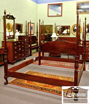 3959-1090 Drexel Solid Mahogany King Ball & Claw Foot Poster Bed