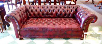 Burgundy Leather Chesterfield Sofa