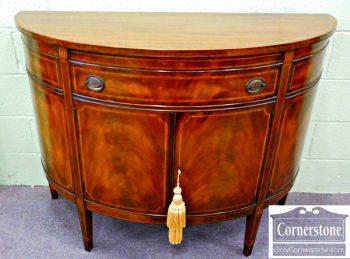3959-1119 Williams-Kimp Inlaid Mahogany Demilune Console Cabinet