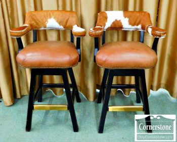 3959-1150 Old Hickory Tannery Leather and Cowhide Bar Stools