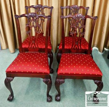 3959-1154 4 Ethan Allen Solid Mahogany Chippendale Dining Side Chairs