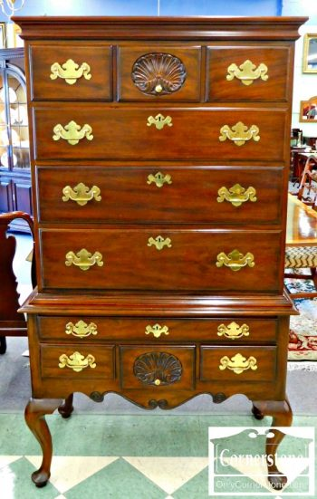 3959-1186 Henkel Harris Solid Mahogany Queen Anne Flat Top Highboy