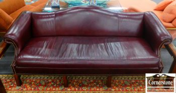 3959-1205 Chippendale Camelback Burgundy Leather Sofa