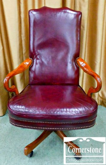 3959-1212 Burgundy Leather Executive Desk Chair