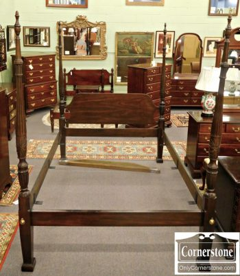 3959-1225 Drexel Solid Mahogany Queen Rice Carved Poster Bed