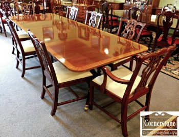 3959-1236 Set of 8 Maitland Smith Solid Mahogany Chippendale Dining Chairs