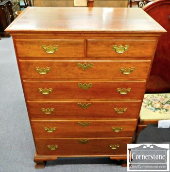 3959-1253 Cabinet Made Solid Cherry Chippendale Tall Chest