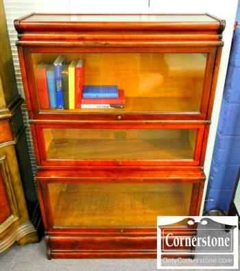 3959-1258 Globe Wernicke Mahogany Finish 3 Stack Barrister Bookcase
