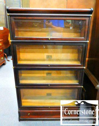 3959-1259 Globe Wernicke 4 Stack Barrister Bookcase in Mahogany Finish