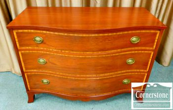 3959-1330 Johnson Furniture Mahogany Banded Serpentine Chest