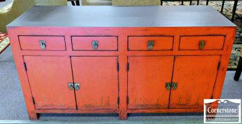 3959-1346 Pottery Barn Red Painted Credenza