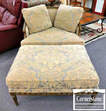 3959-163 Beacon Hill by Drexel Heritage French Style Upholstered Chair and Ottoman