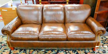 3959-1646 - Homelife Brown Leather Sofa