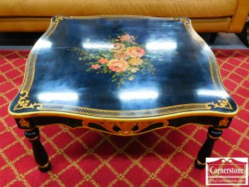 3959-1647 - Black Coffee Table with Flowers