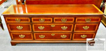 3959-1681 Drexel Heritage Mahogany Chippendale Banded Dresser