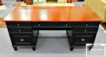 3959-1689 Arhaus 2 Tone Black and Cherry Flat Top Desk with File Drawer