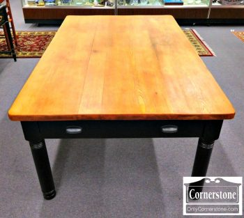 3959-1710 - Solid Oak Rustic Farm Table with Painted Base