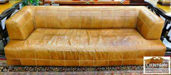 3959-1740 Stone International Chrome Leather Sofa
