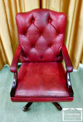 3959-1771 - Williams Sonoma Burgundy Leather Office Chair