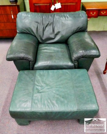 3959-1790 - Elite Casual Green Leather Occasional Chair and Ottoman