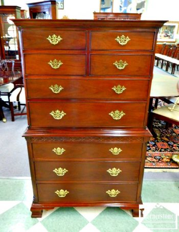 3959-1797 - Hickory Chair Mahogany Chippendale Chest on Chest