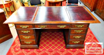 3959-1805 - Jasper Executive Desk with Burgundy Leather Top