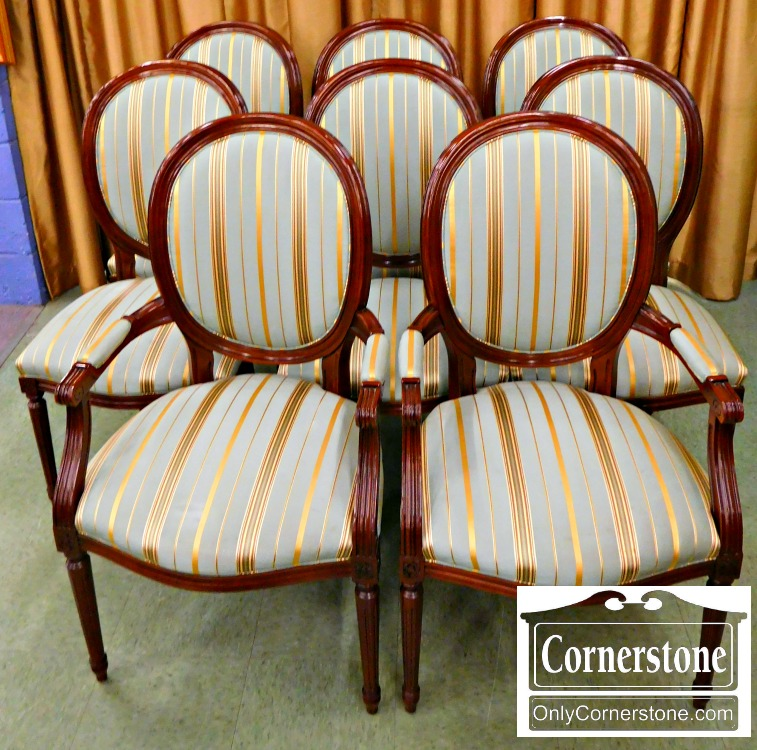 3959 1855 Set Of 8 Oval Stickley Dining Room Chairs