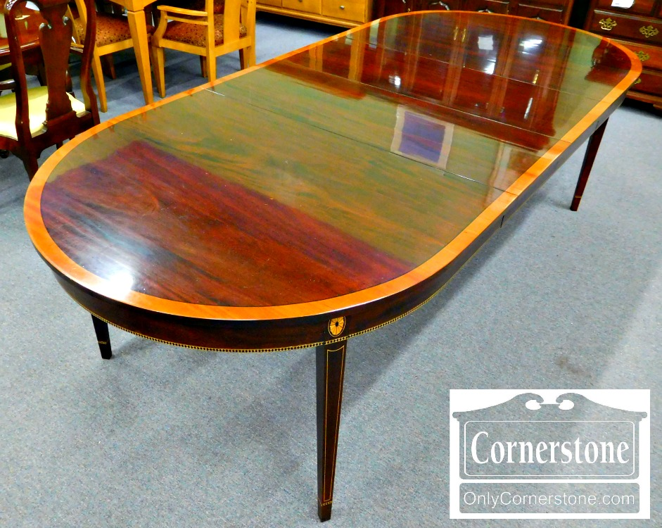 3959 1856 Stickley Oval Inlaid Dining Room Table
