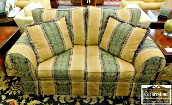 3959-1893 - Green and Tan Striped Damask Loveseat