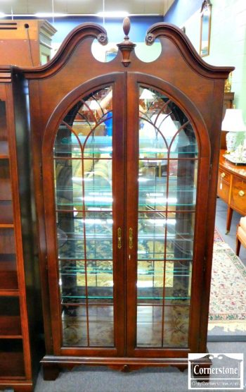 3959-1895 - Jasper Mahogany Finished Arched Curio Cabinet