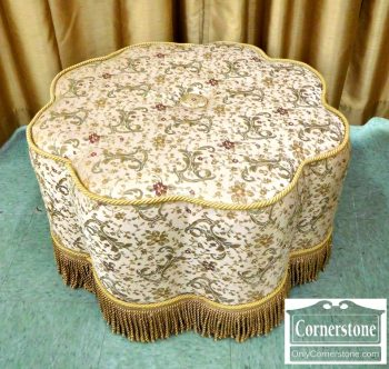 3959-1907 - Tan Ottoman with Fringe