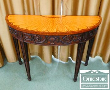 3959-1945 - HH Mahogany Inlaid and Carved Demilune Table