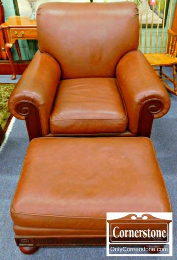 3959-1959 Hickory Chair Leather Chair and Ottoman