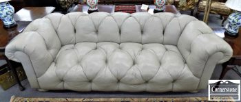 3959-2053 - Hancock & Moore Gray Leather Tufted Sofa