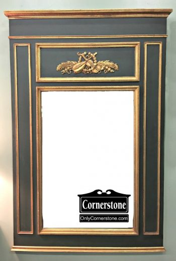 3959-2109 John Richard Olive Green and Gold Painted Mirror