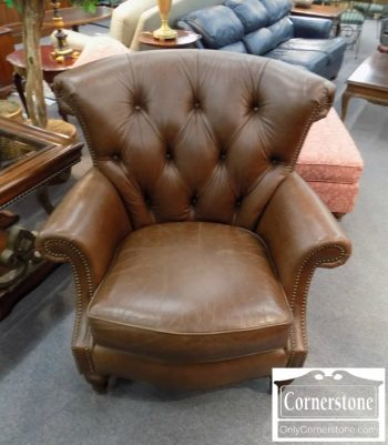 3959-2150 - Leathercraft Leather Tufted Wing Back Chair