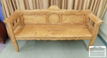 3959-2186 Pine Rustic Bench with Arms